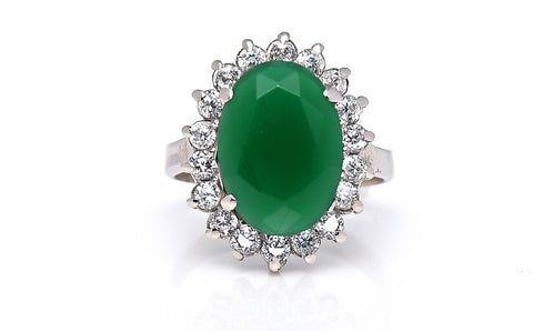 Oval Emerald Zircon Studded Gold Ring