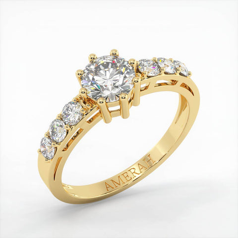 Round Cut White Zircon Studded Gold Band