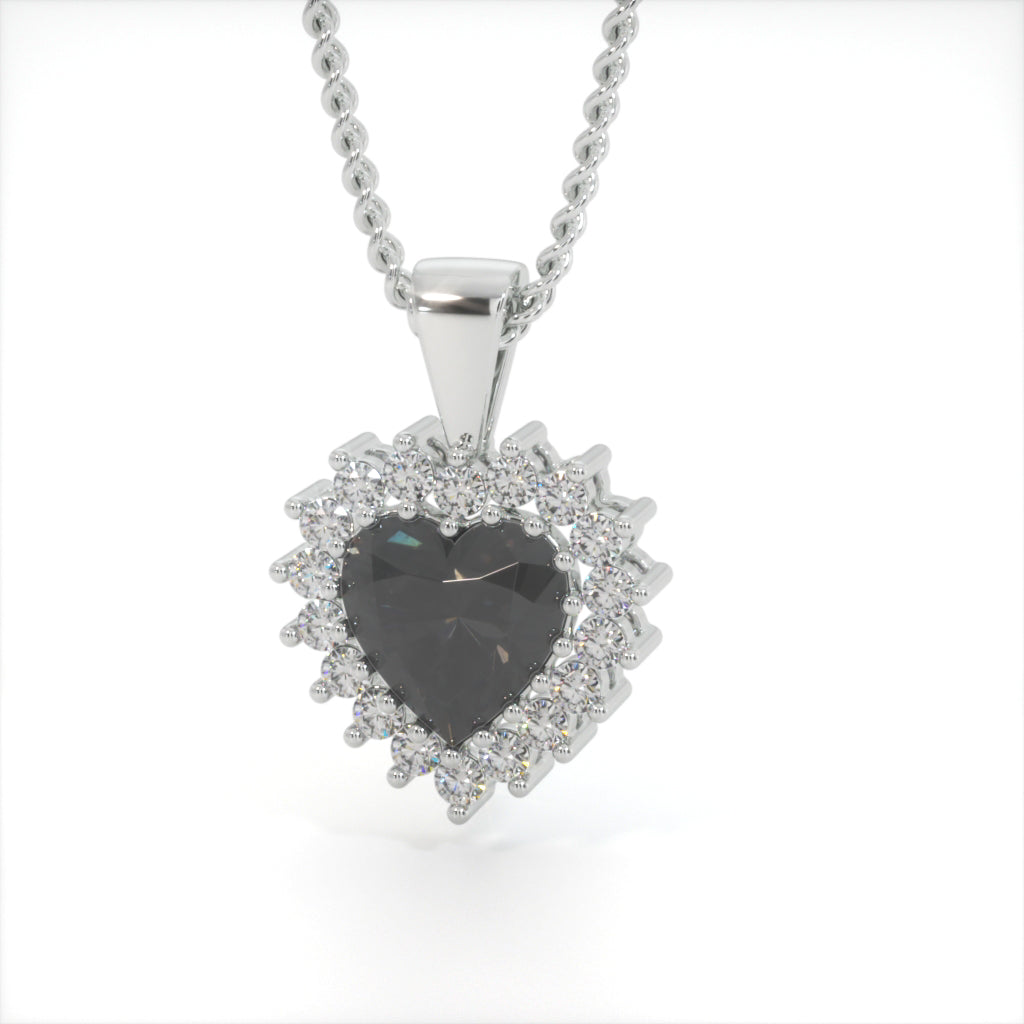 Black Zircon Heart Shaped Studded Necklace