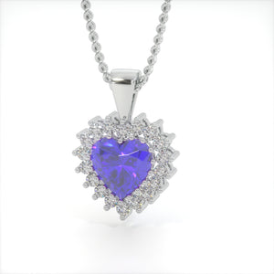 Royal Blue Zircon Heart Shaped Studded Necklace
