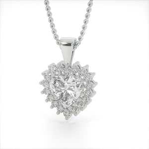 Diamond White Zircon Heart Shaped Studded Necklace