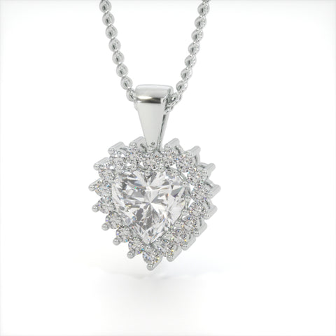 Image of Diamond White Zircon Heart Shaped Studded Necklace