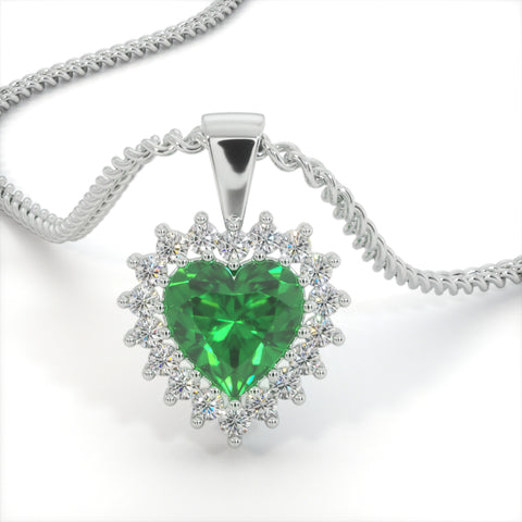 Emerald Green Zircon Heart Shaped Studded Necklace