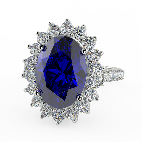 Lady Diana Blue stone Silver Diamond Cut Ring