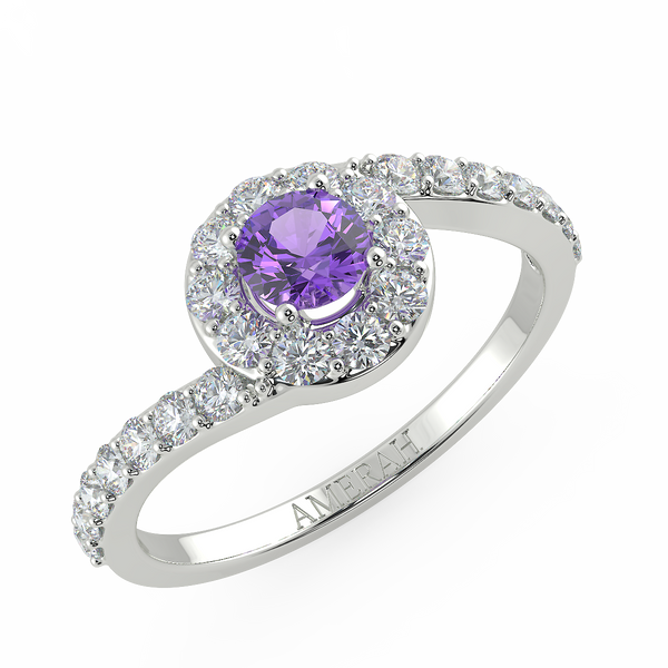 Elegant Shaped Amethyst Studded Ring