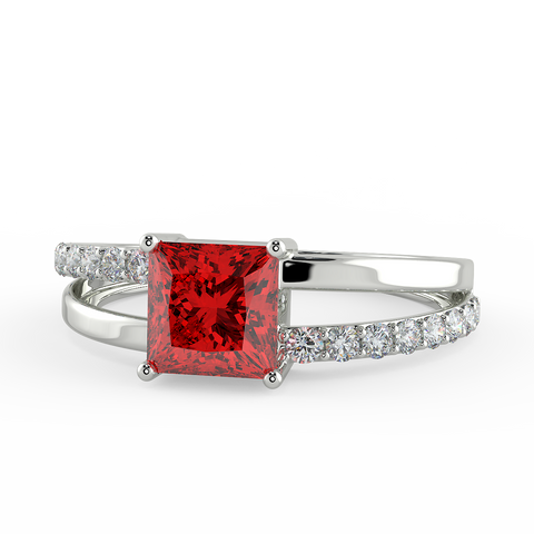 Image of Square Cut Ruby Zircon Half Studded Silver Ring
