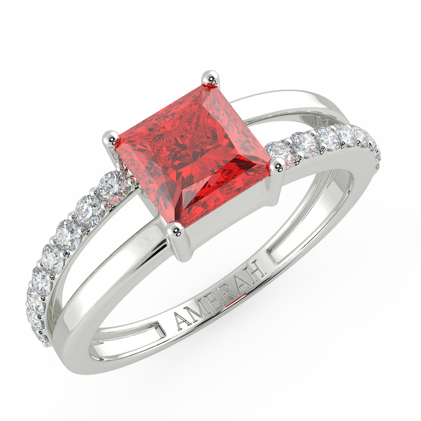 Square Cut Ruby Zircon Half Studded Silver Ring