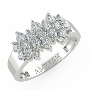 Stretched Studded Zircon Silver Ring