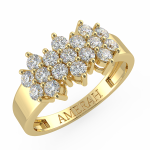 Stretched Studded Zircon Gold Ring