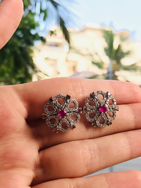 pink stone pure silver earrings design