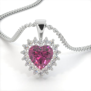 Pink Deluxe Zircon Heart Shaped Studded Necklace