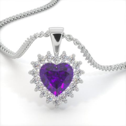 Purple Classic Zircon Heart Shaped Studded Necklace