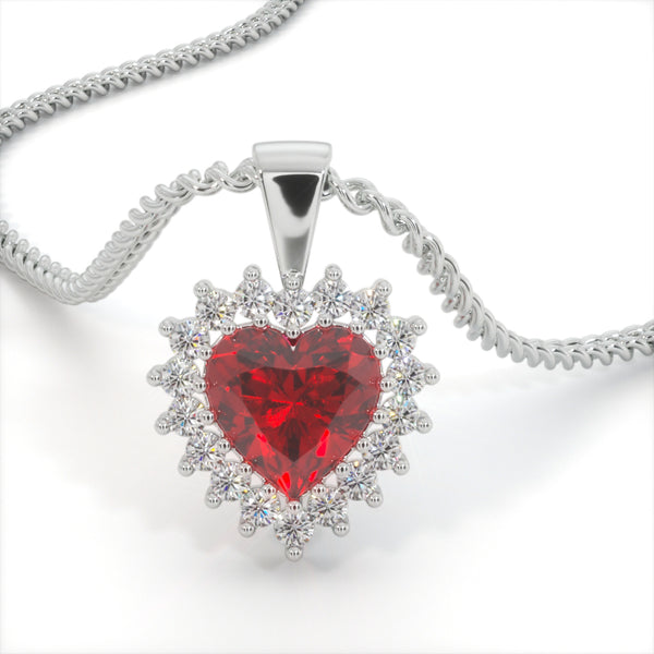 Red velvet Zircon Heart Shaped Studded Necklace