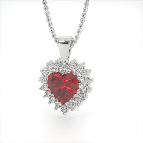 Image of Red velvet Zircon Heart Shaped Studded Necklace