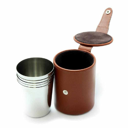 Marlborough Stirrup Cups in Chestnut Leather - 4 Medium Cups - Gamefishltd