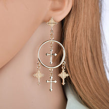 Load image into Gallery viewer, Vintage Cross Pendant Earrings