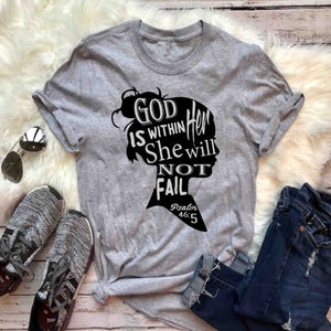 God is Within Her She Will Not Fail Psalms 46:5 T-Shirt