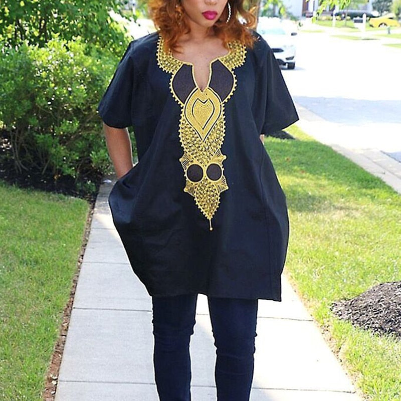 Woman Black and Gold Dashiki Pant Suit