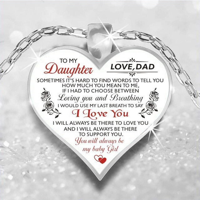 To My Daughter Love Dad Heart Necklace