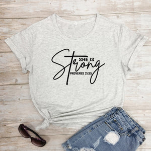 She Is Strong Proverbs 21:35 T-Shirt