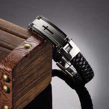 Load image into Gallery viewer, Cross Braided Leather Bracelet