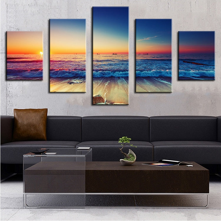 Evening Ocean 5 Piece Wall Art