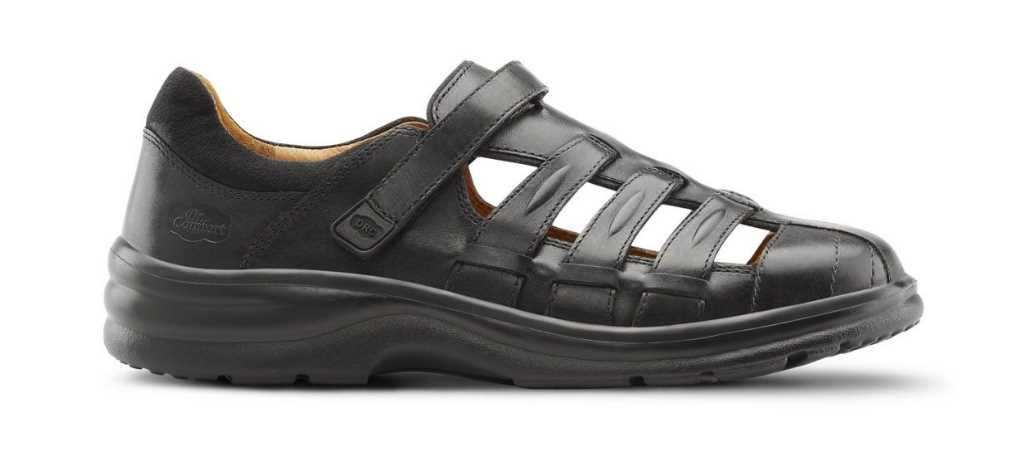 dr comfort black womens breeze sandal right side view 1024 x 451