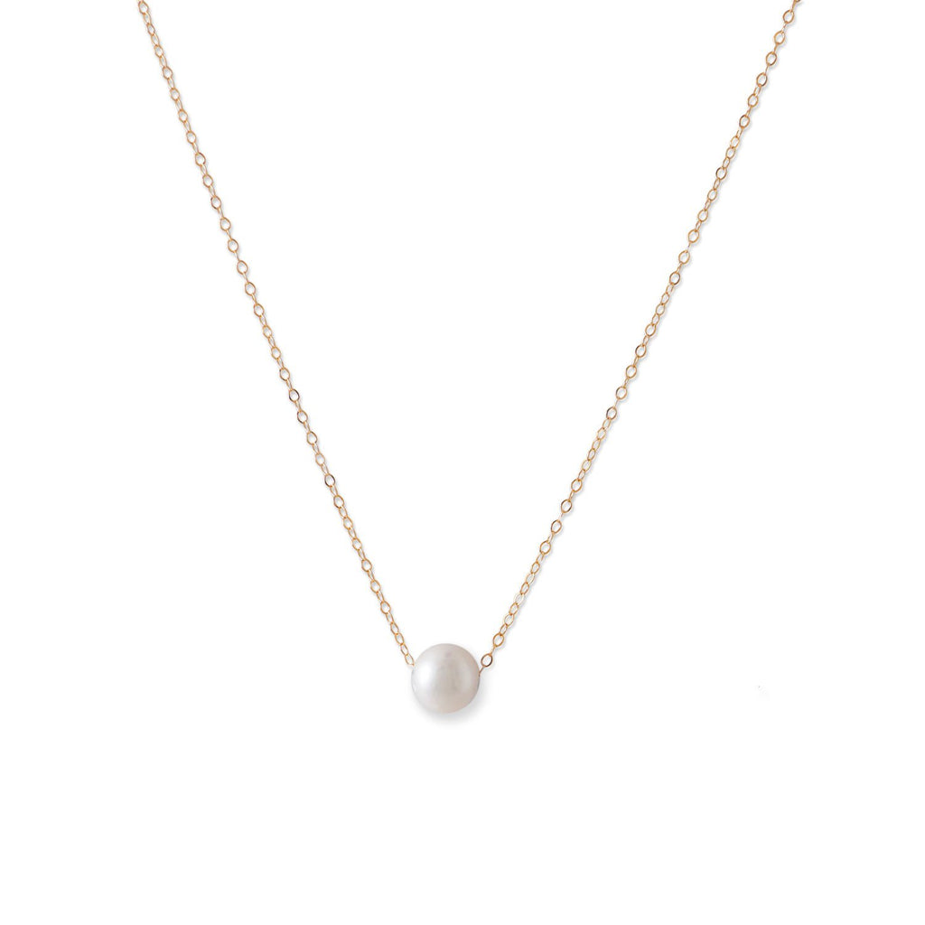 14 Karat Gold Necklace with Cultured Freshwater Floating Pearl
