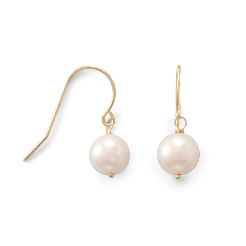 14 Karat Gold 7mm Cultured Akoya Pearl French Wire Earrings