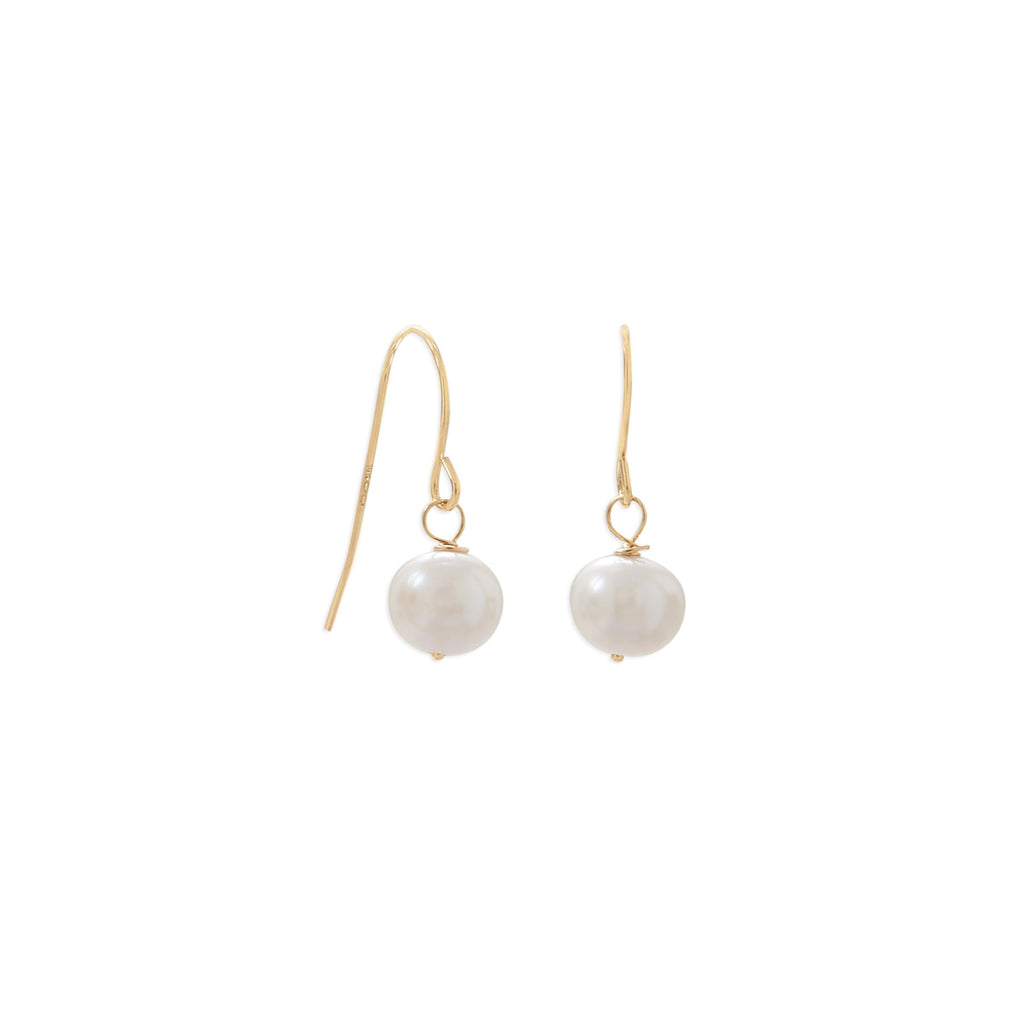 14 Karat Gold Cultured Freshwater Pearl French Wire Earrings
