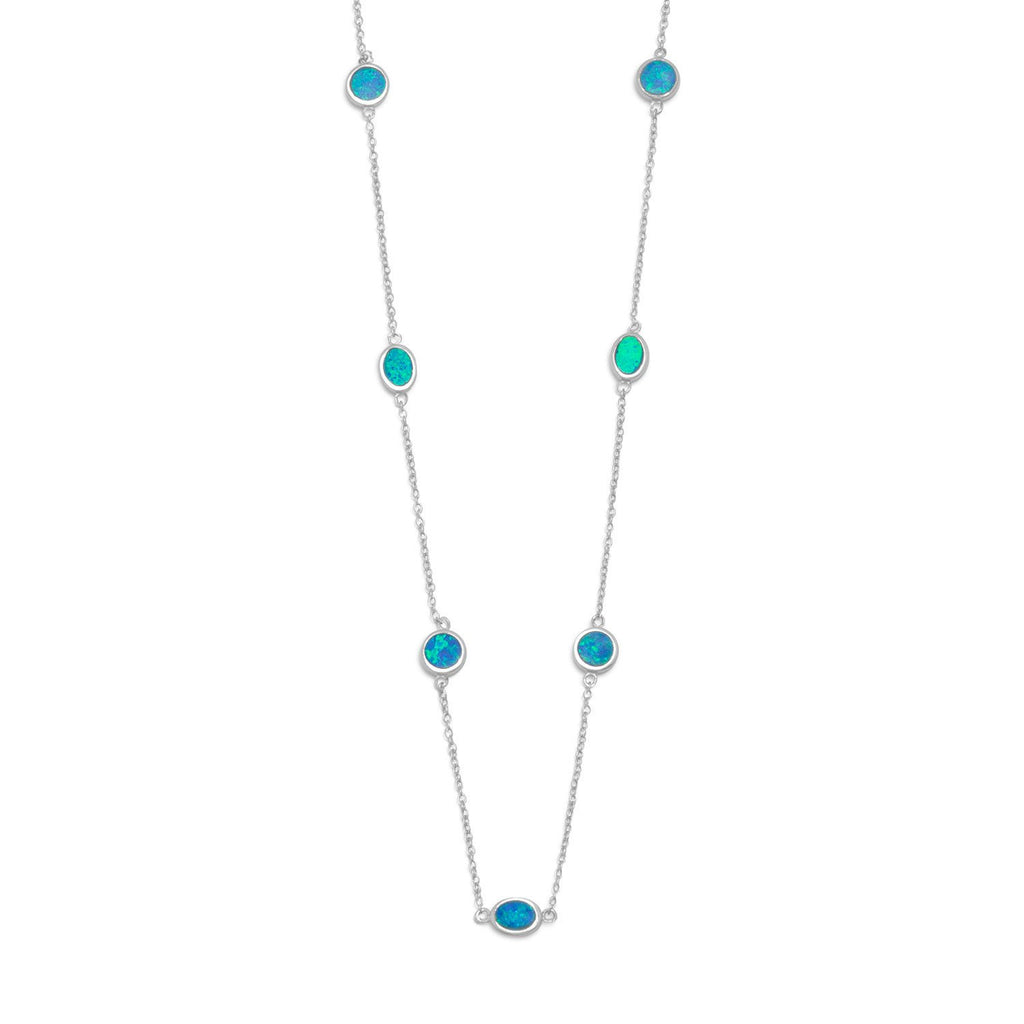 "16"" + 2"" Rhodium Plated Synthetic Blue Opal Necklace"