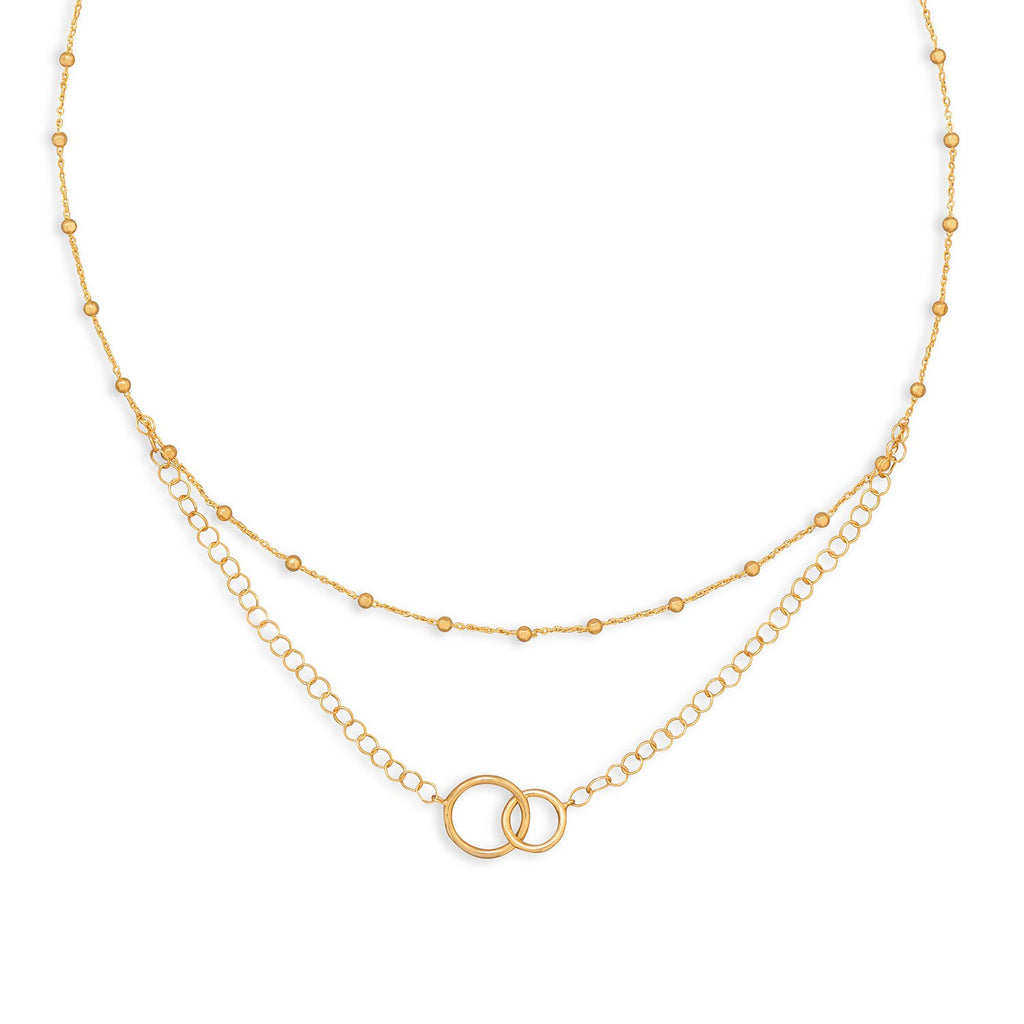 "16"" 14 Karat Gold Plated Multistrand Beaded Necklace with Circle Link"