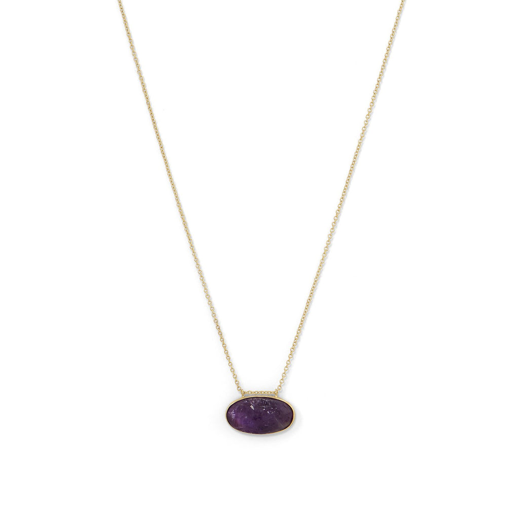 14 Karat Gold Plated Rough Cut Amethyst Slide Necklace