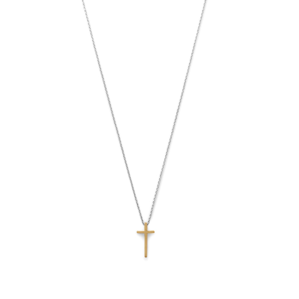 Two Tone Cross Necklace