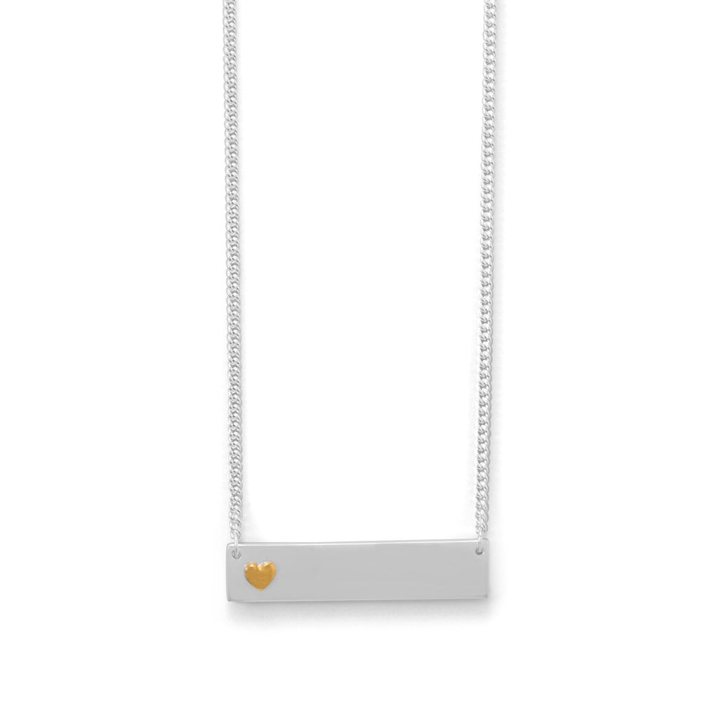 "16"" + 2"" Bar Necklace With 14 Karat Gold Plated Heart"