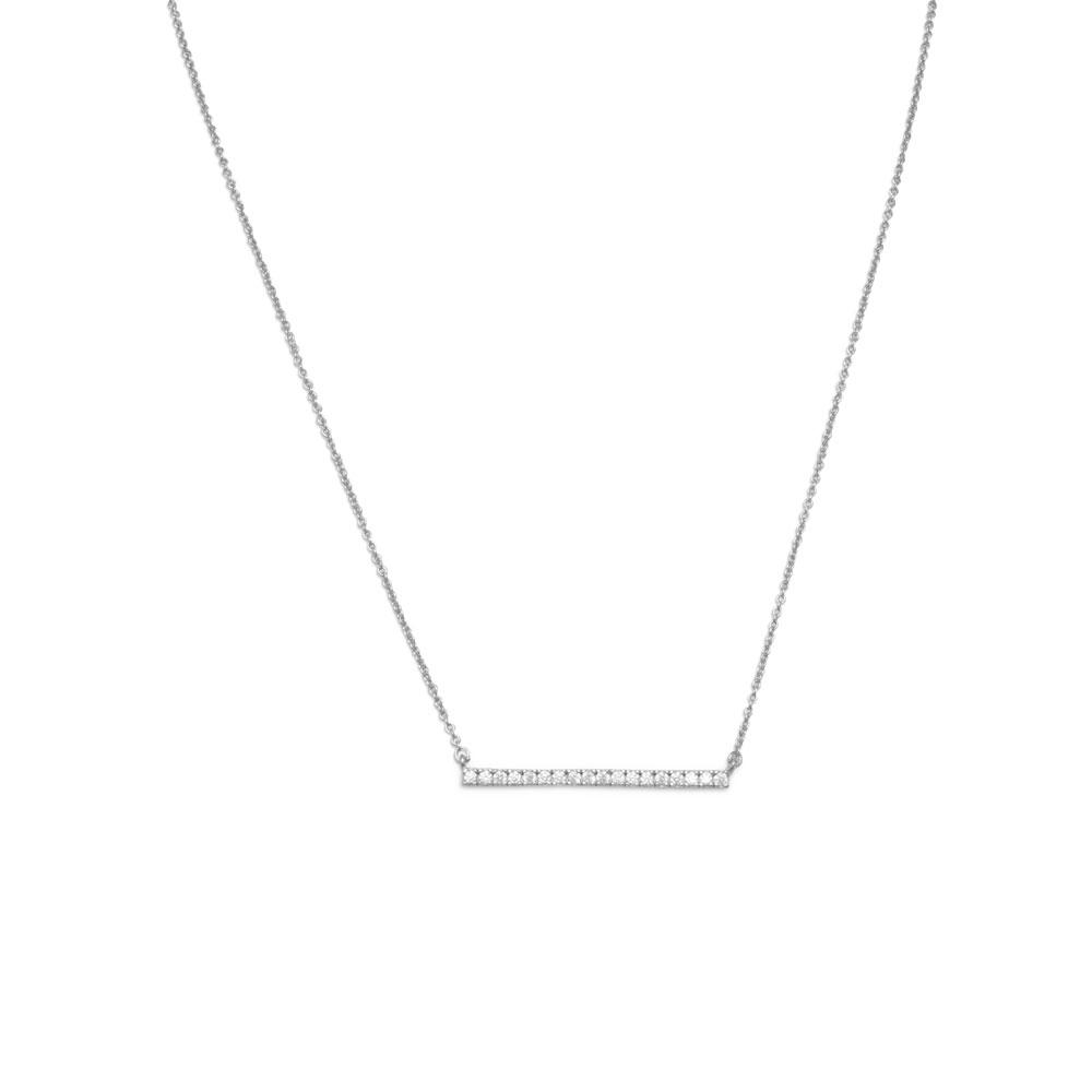 "16"" + 2"" Rhodium Plated CZ Bar Necklace"