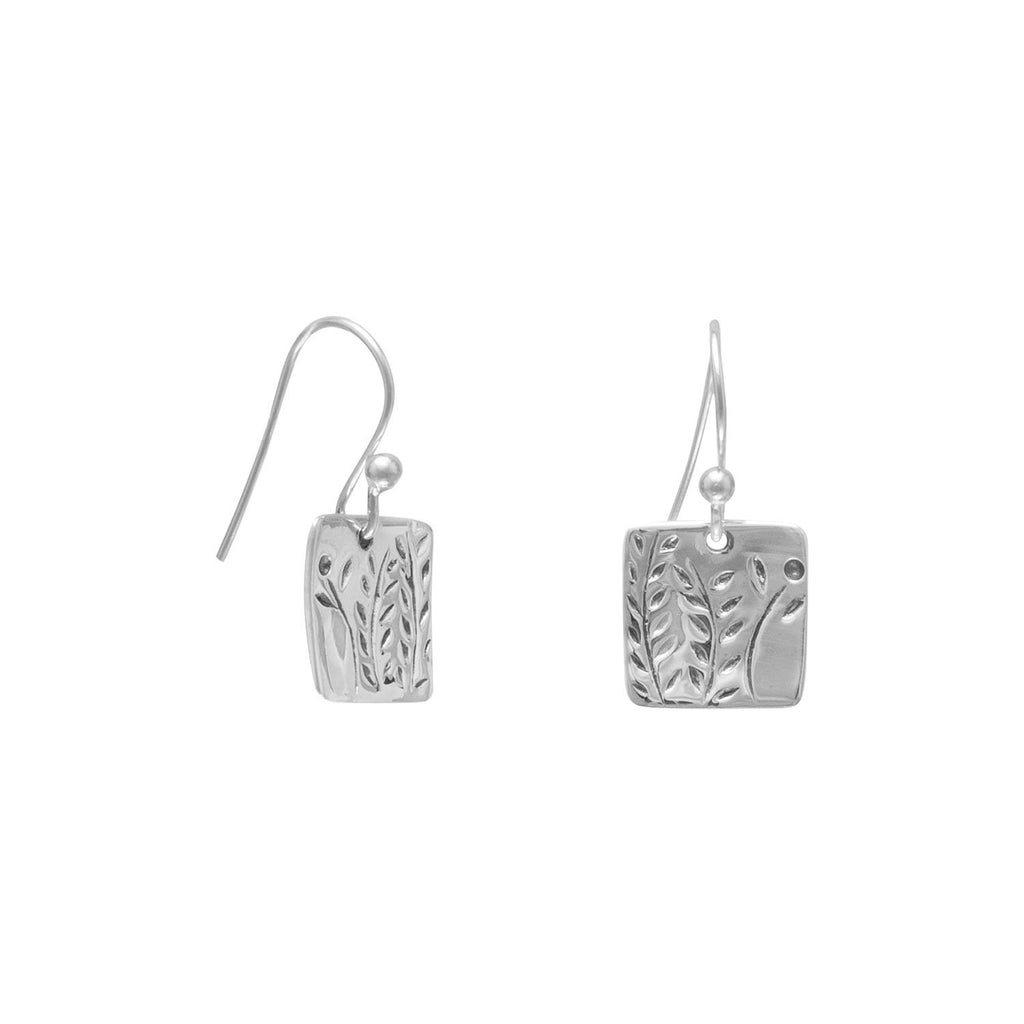French Wire Earrings with Fern Design