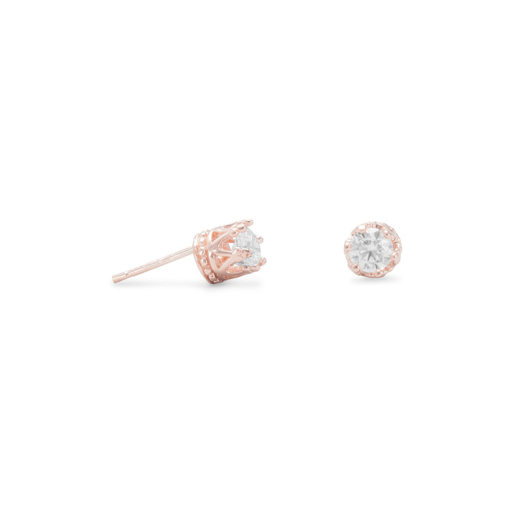 14 Karat Rose Gold Plated Crown Set CZ Earrings