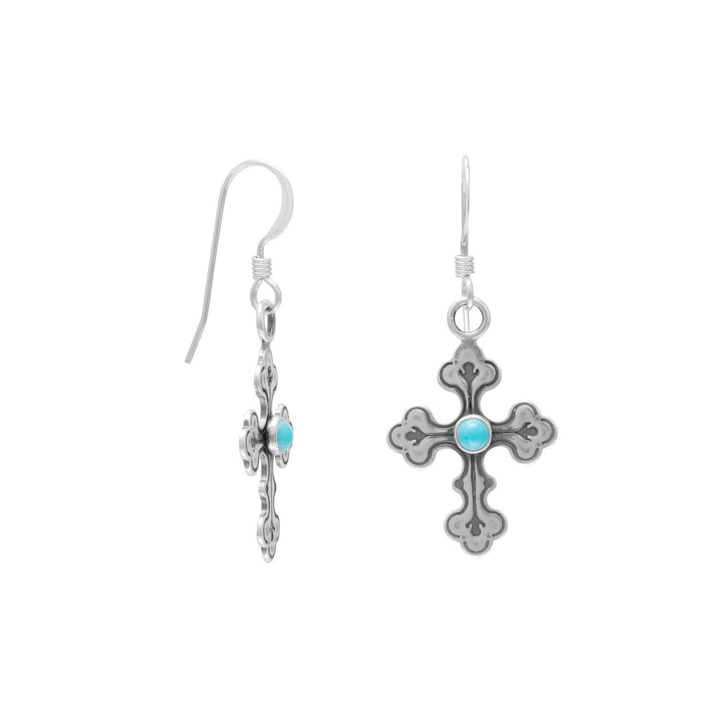 Oxidized Cross Earrings with Turquoise Center
