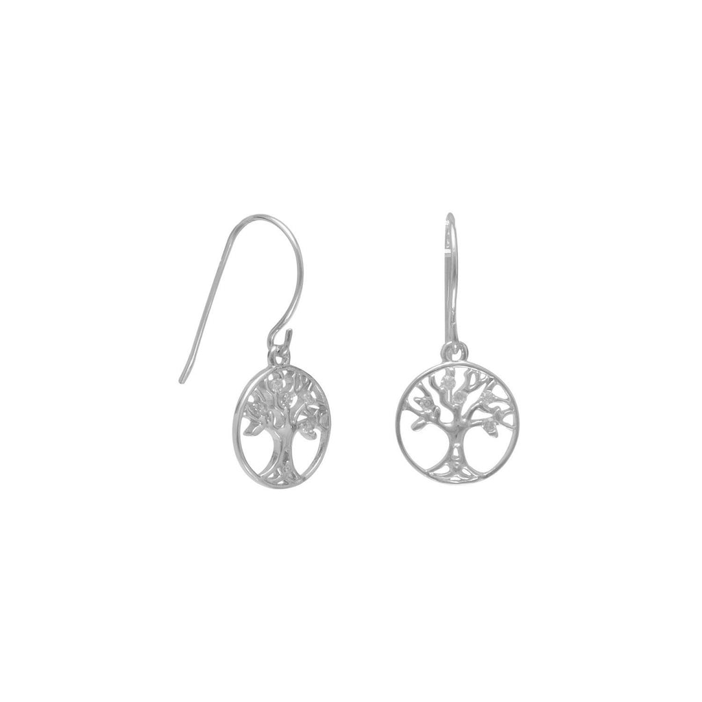 Rhodium Plated CZ Tree of Life Earrings