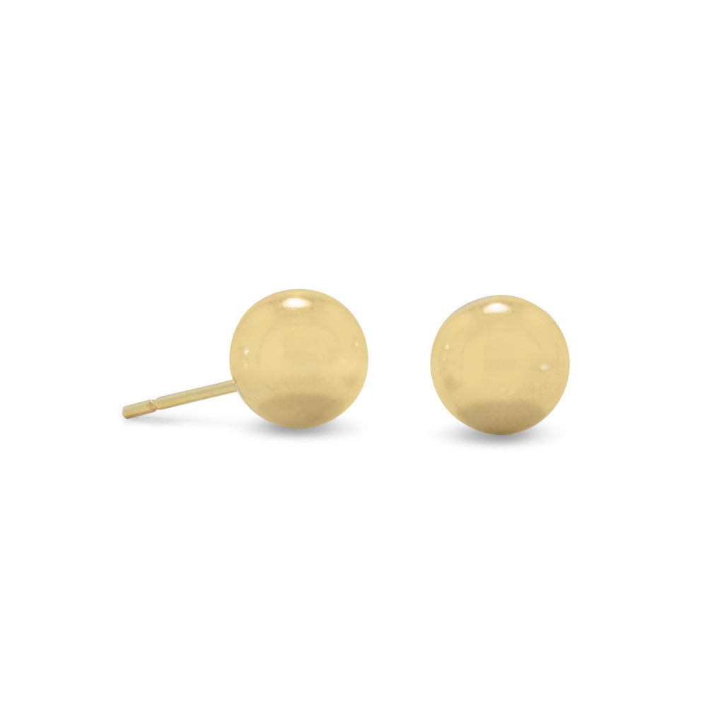 14 Karat Gold Plated 8mm Ball Stud Earrings