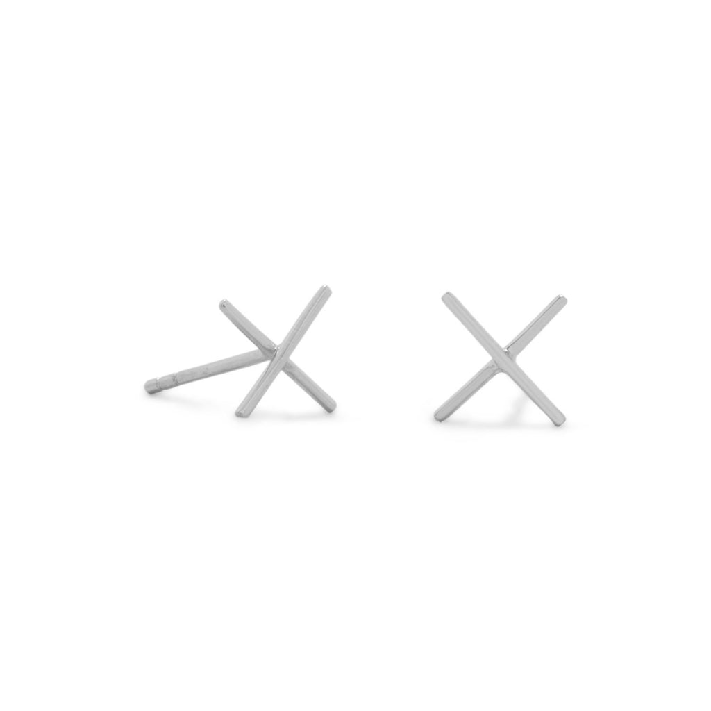 Rhodium Plated 'X' Stud Earrings