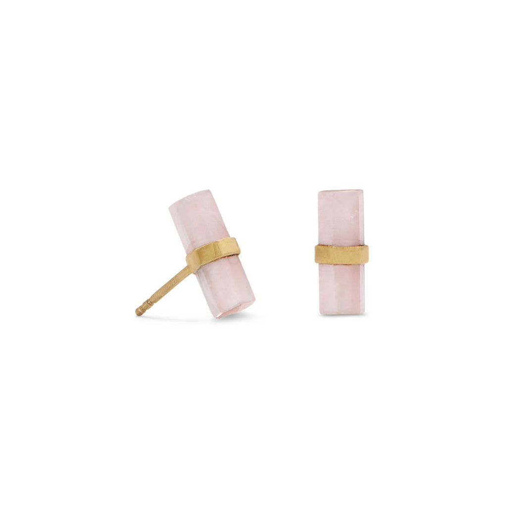 14 Karat Gold Plated Pencil Cut  Rose Quartz Studs