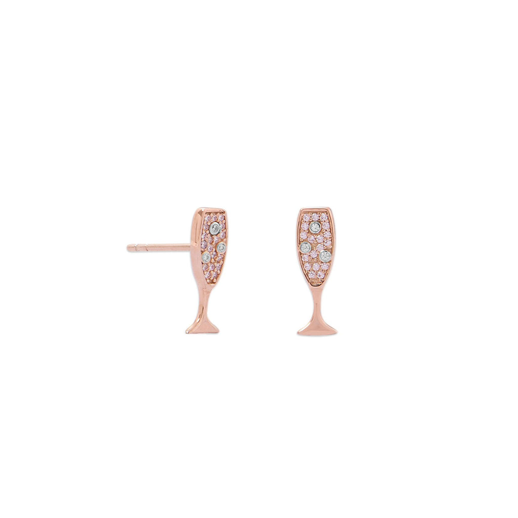 14 Karat Rose Gold Plated CZ Champagne Glass Stud Earrings