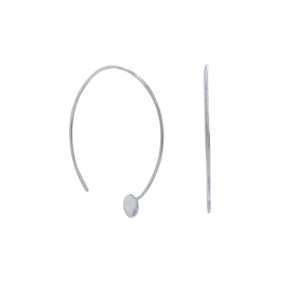 Rhodium Plated Threader Dot End Earring