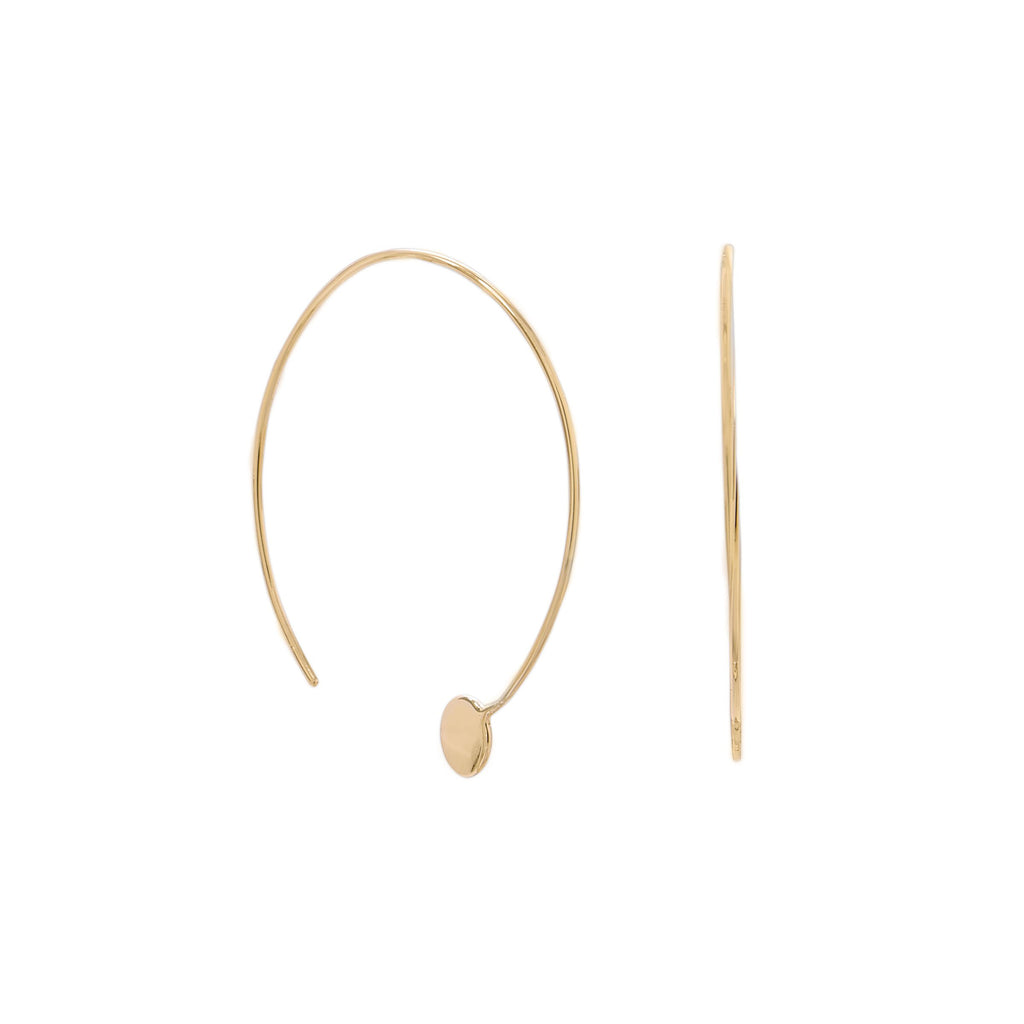 14 Karat Gold Plated Threader Dot End Earring