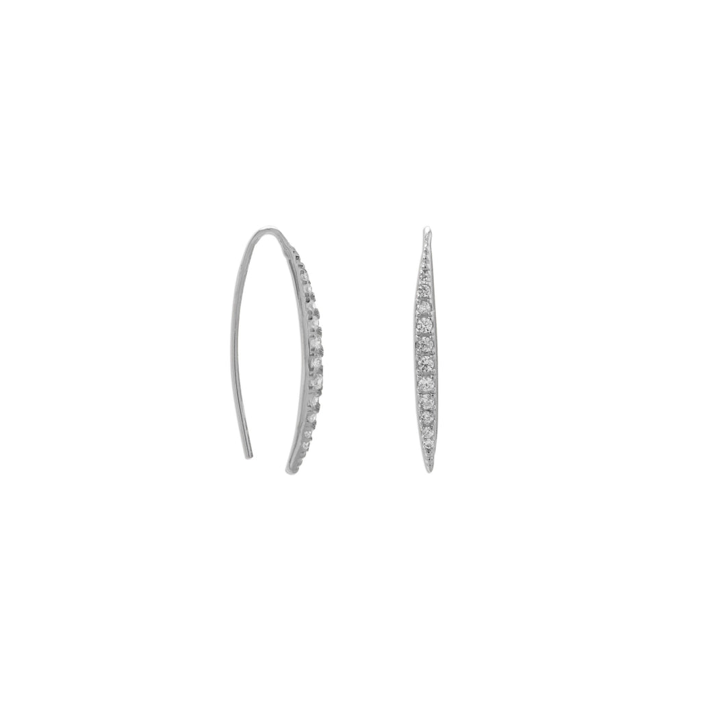 Rhodium Plated Graduated CZ Vertical Bar Earrings