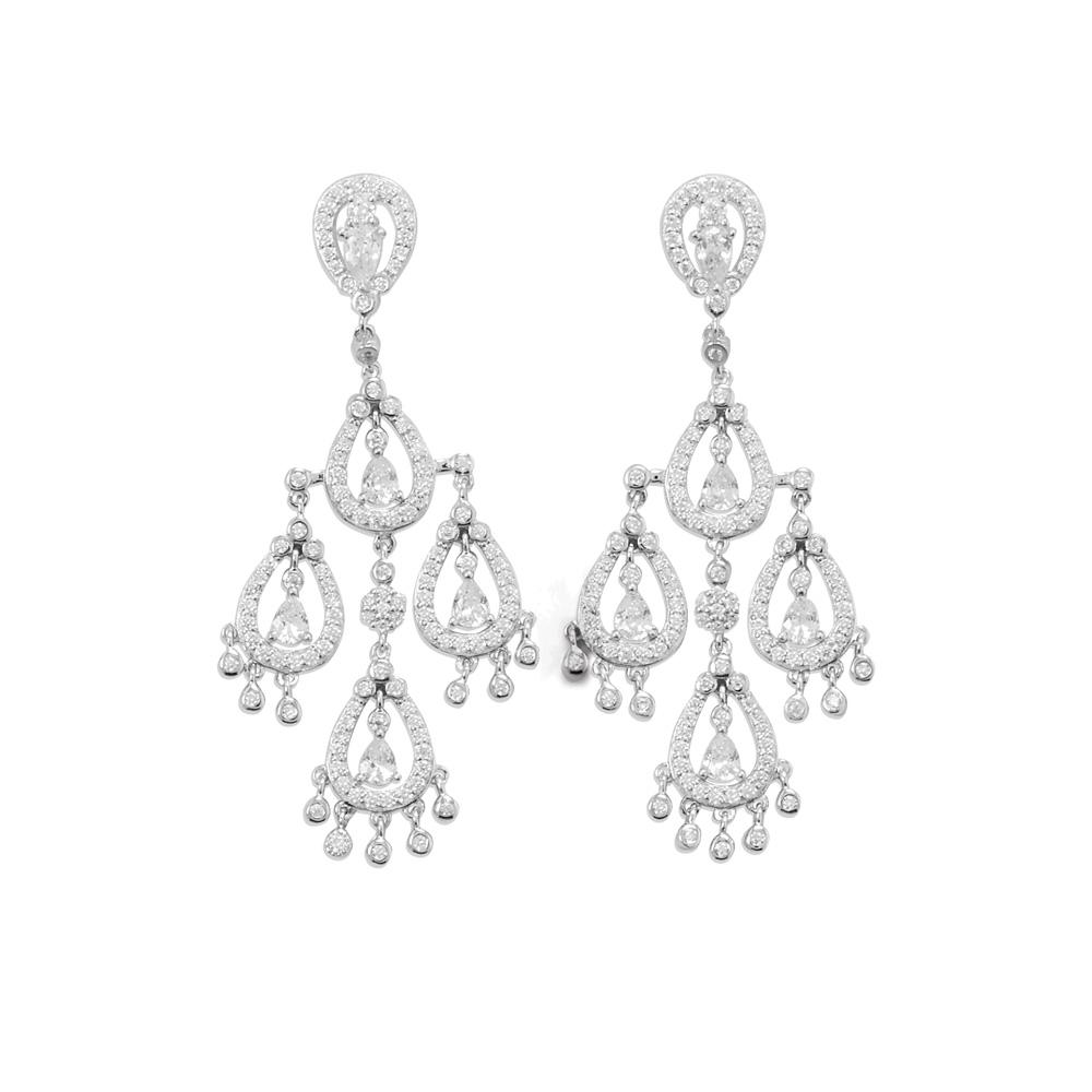 Rhodium Plated CZ Pear Chandelier Earrings