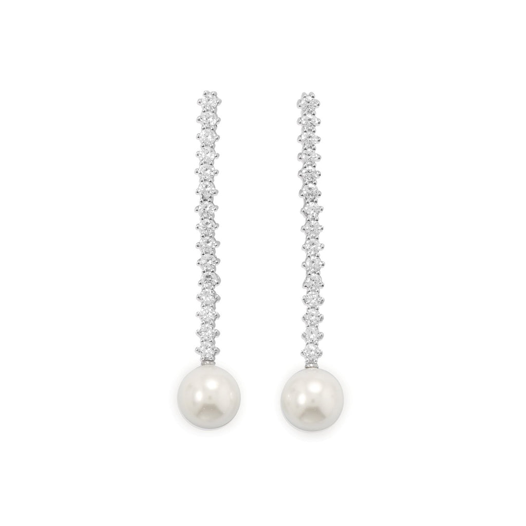 Rhodium Plated CZ and Simulated Pearl Drop Earrings