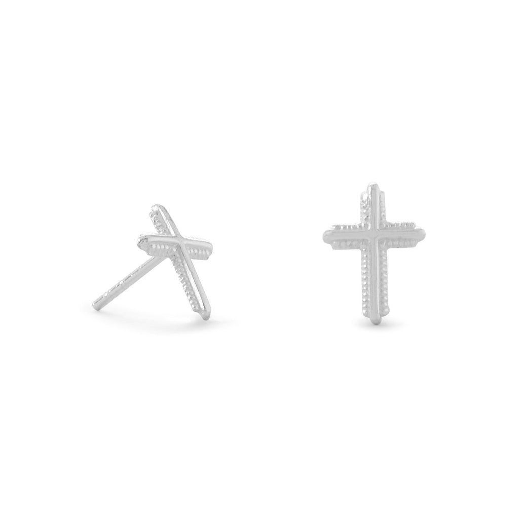 Polished Milgrain Cross Stud Earrings